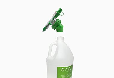 Attach the Safety Nozzle with Adapter to the e-NRG bottle